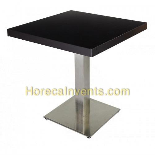 melamine tafel zwart 70 70 rvs onderstel nieuw horecainvents